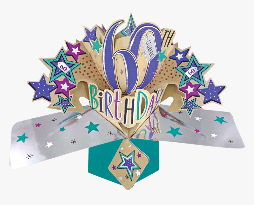 Happy 60th Birthday Pop-up Greeting Card - Pop Up 60th Birthday Card, HD Png Download, Free Download