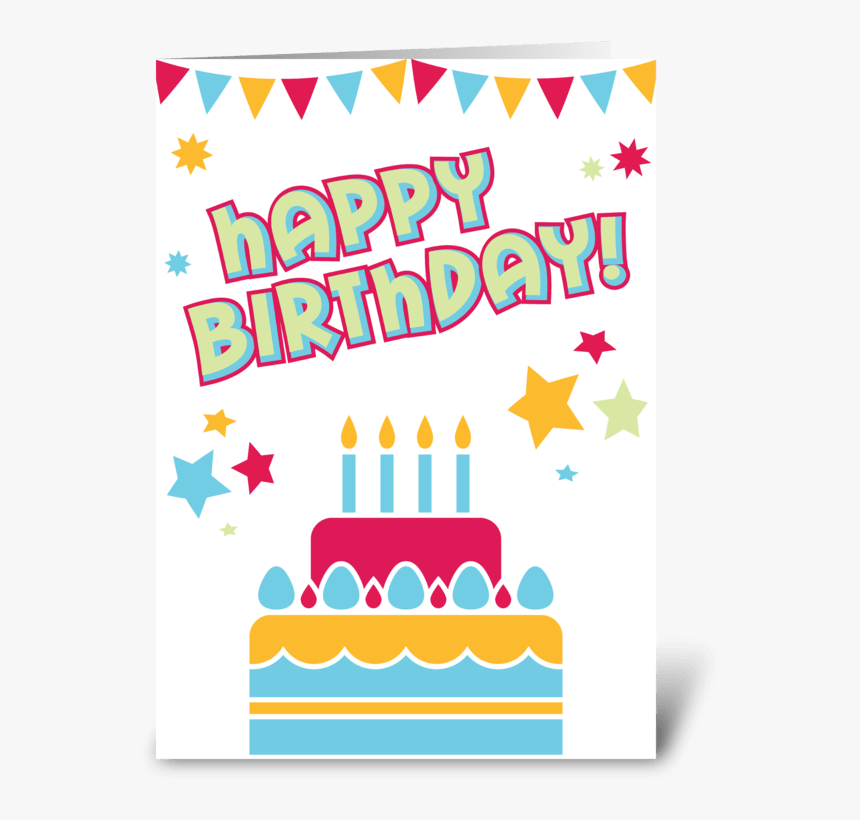 Happy Birthday Cake Greeting Card - Greeting Card, HD Png Download, Free Download
