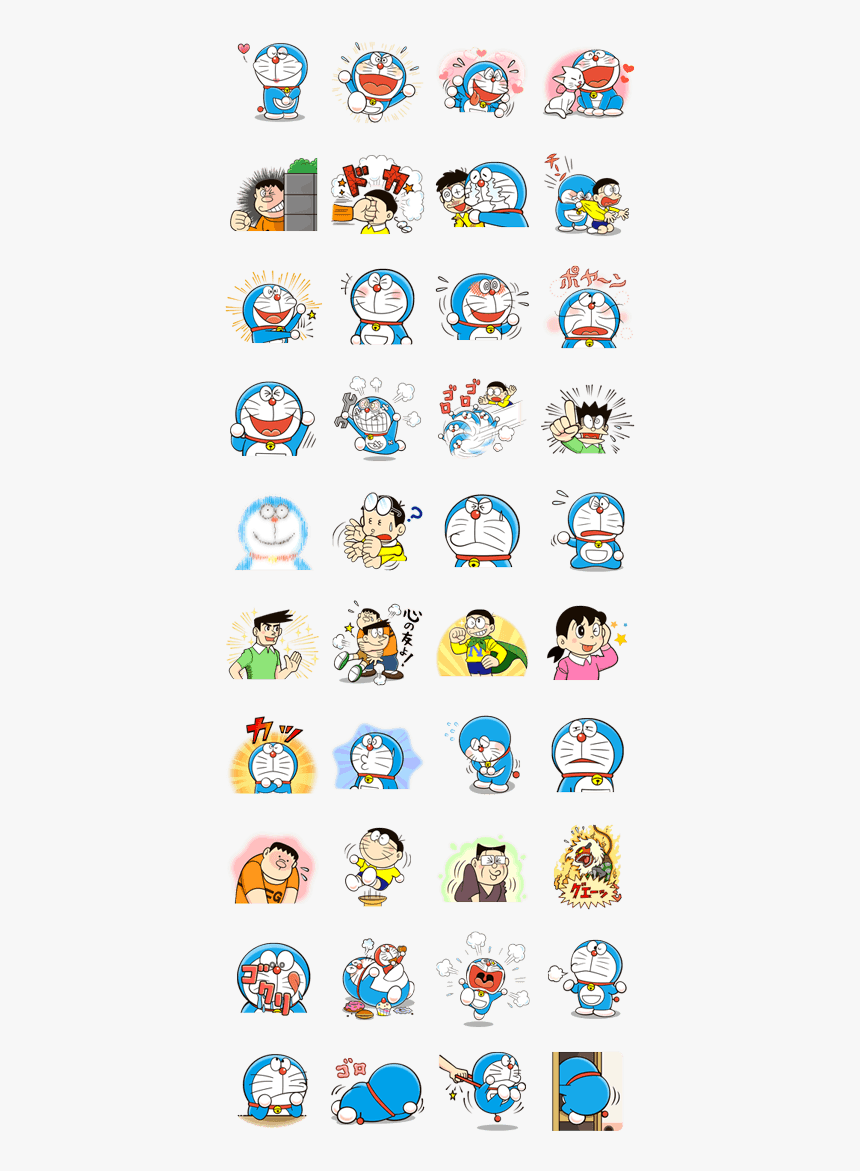 "Doraemon""s Many Emotions Line Sticker Gif & Png Pack - Pokemon Chat Pals Stickers, Transparent Png, Free Download"