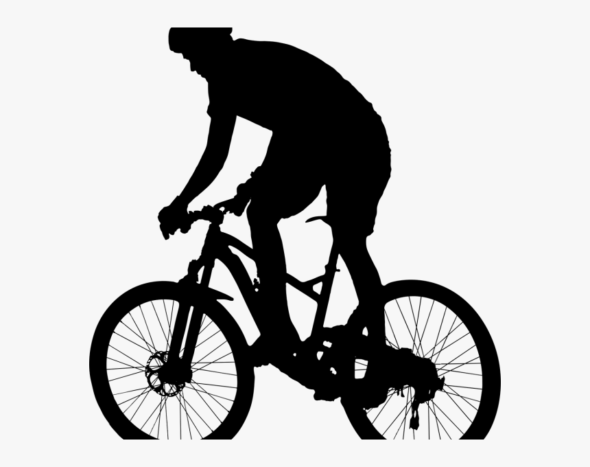 Transparent Riding Bicycle Clipart Black And White ...