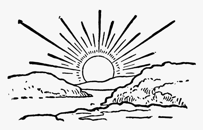 Sunrise Black And White Png Sun Set Clipart Black And White