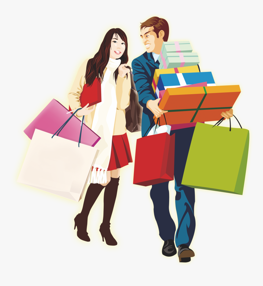 Shopping Designer Template - Man And Woman Shopping Clipart, HD Png Download, Free Download