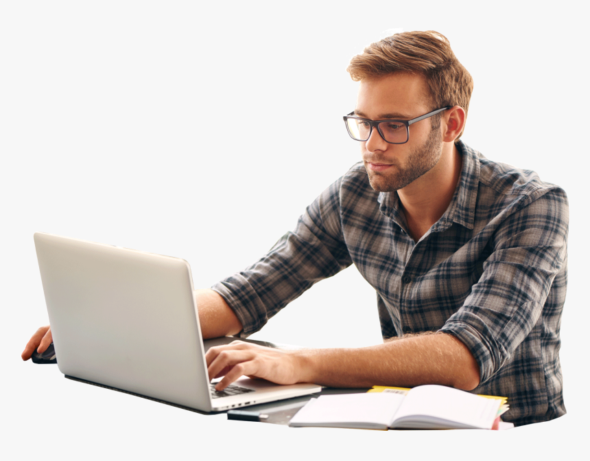 Male Student Using Laptop - Guy On Computer, HD Png Download - kindpng