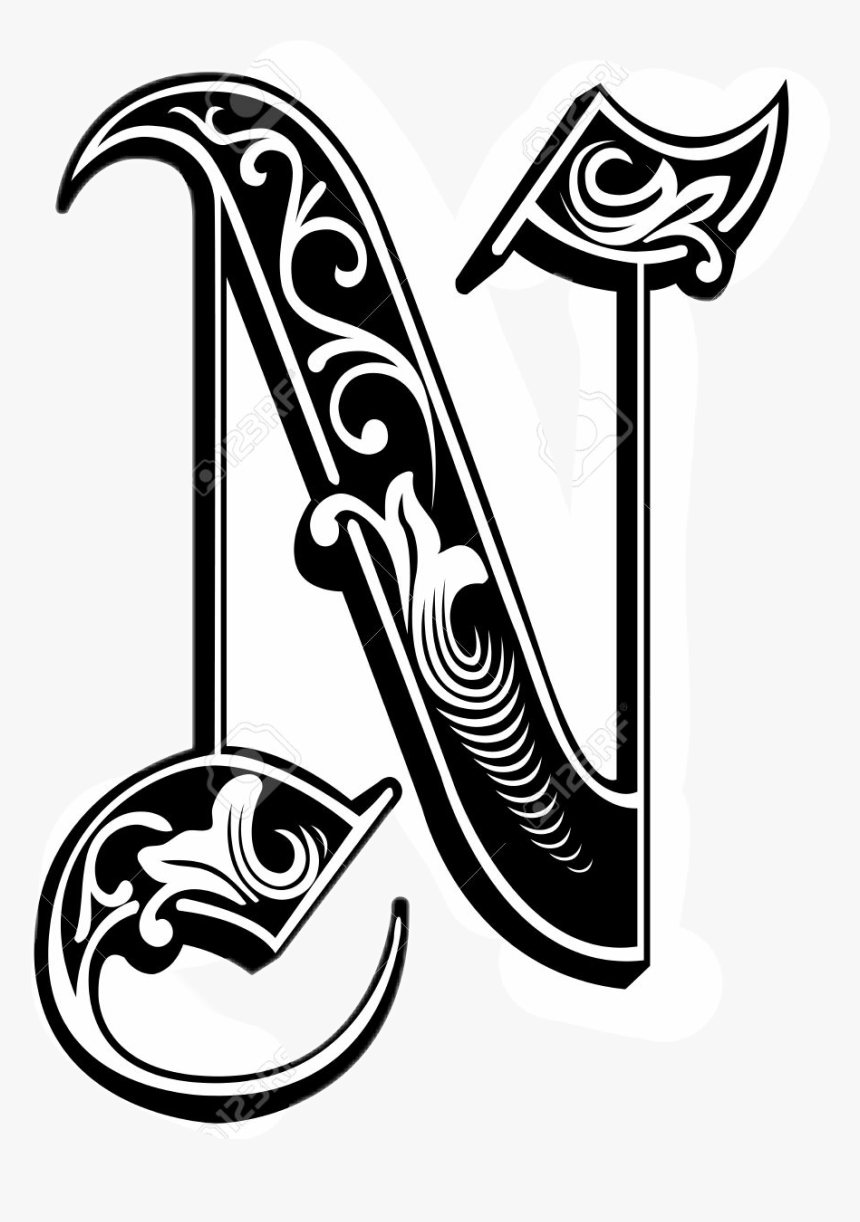 Tattoo Alphabet N Blackandwhite Gothic Letter N Png Transparent Png Kindpng Our tattoo alphabet is just a bit of inspiration, with various ideas you can play with! gothic letter n png transparent png