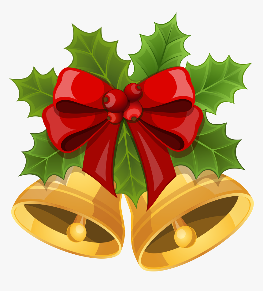 Transparent Bell Clipart - Christmas Bows With Bells, HD Png Download, Free Download