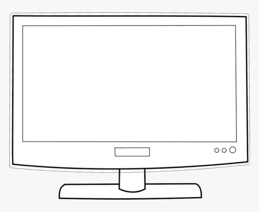 Tv Big Screen Clip Art Cliparts Clipart Of Television - Monitor Clipart Black And White, HD Png Download, Free Download