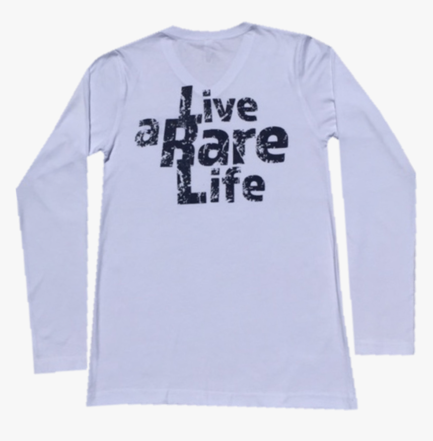 Adult Long Sleeve V Neck T Shirt With Live A Rare Life - Long-sleeved T-shirt, HD Png Download, Free Download