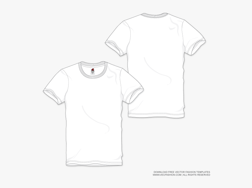 Men White Round Neck T Shirt Vector Template Trazo - Mens T Shirt Flat, HD Png Download, Free Download