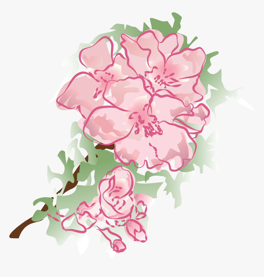 Pink Watercolor Flowers Png - Transparent Pink Flower Watercolor Icon, Png Download, Free Download