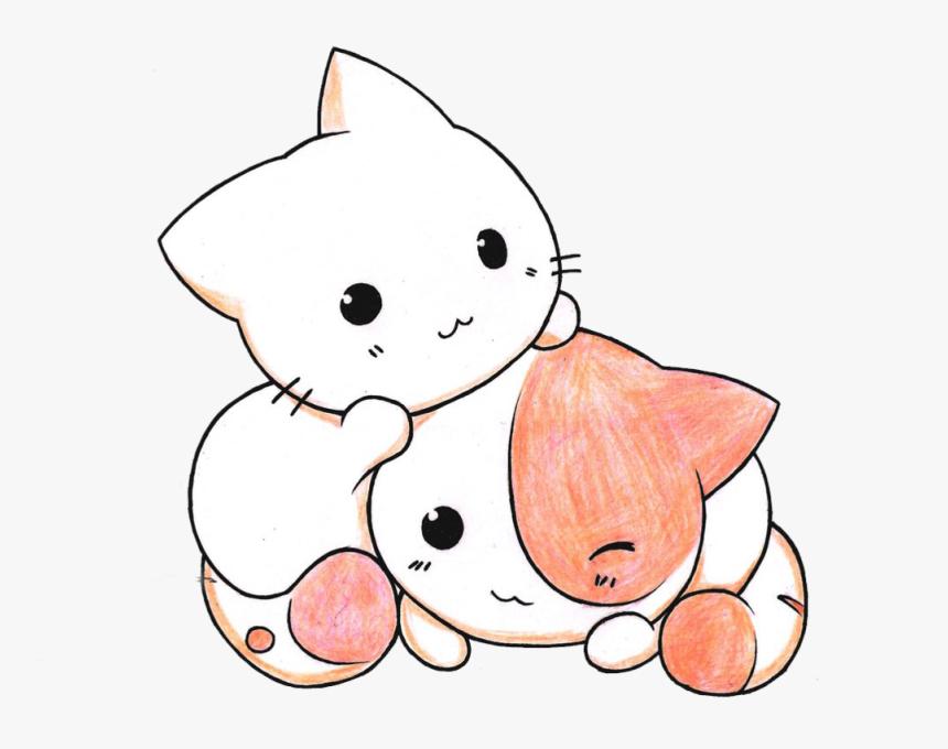 Cat, Kawaii, And Pink Image - Kawaii Cute Kitten Drawing, HD Png Download, Free Download