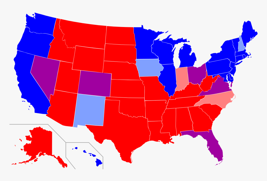 Republican And Democrat States - United States Map Transparent Background, HD Png Download, Free Download