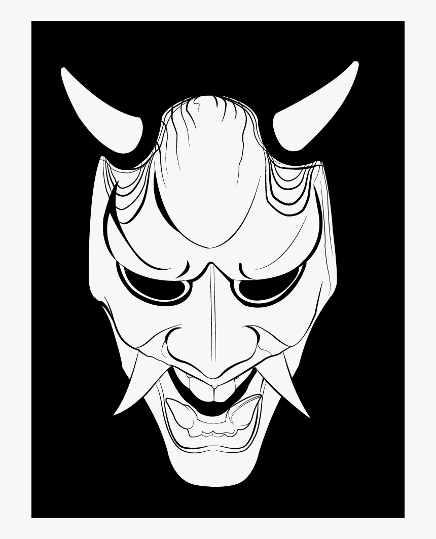 Drawing Of Oni Mask Hd Png Download Kindpng