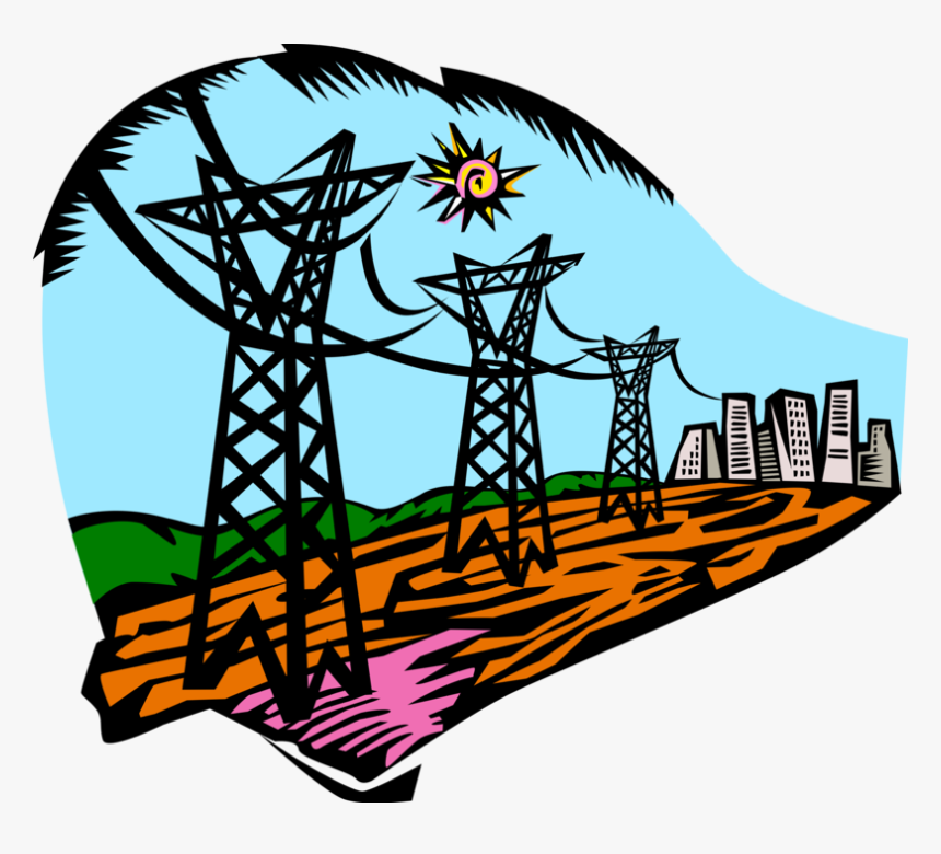 Vector Illustration Of Transmission Towers Carry Electrical - Hidrelétricas Png, Transparent Png, Free Download