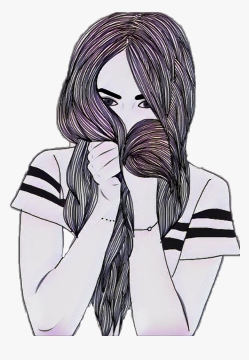 Girls Drawings Long Hair, HD Png Download, Free Download