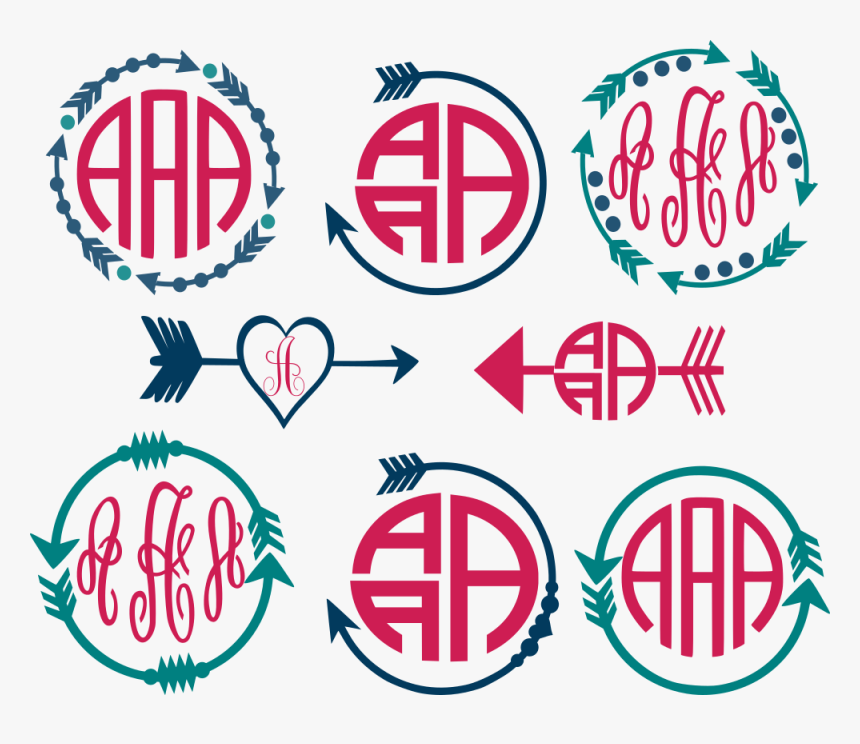 Arrow Circle Frame Cut - Cute Arrow Monogram Outlines, HD Png Download, Free Download