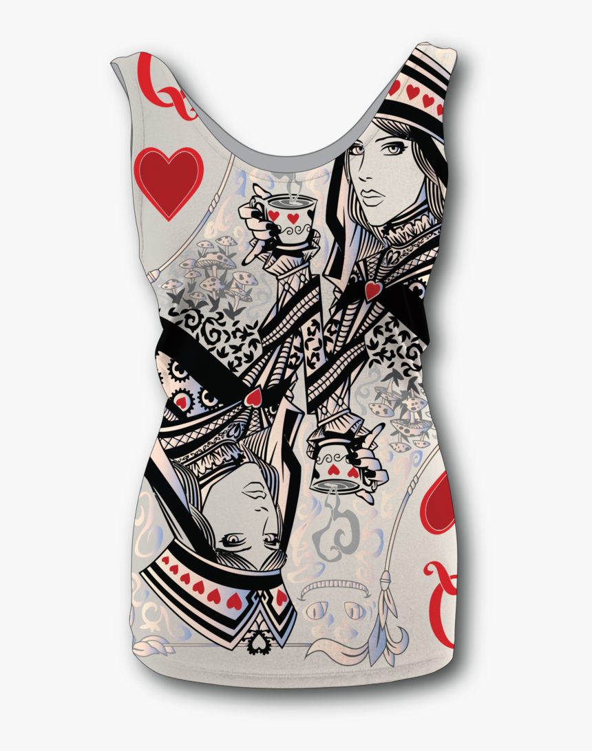 "Women""s Queen Of Hearts Tank Top - Queen Of Hearts Card Tattoo, HD Png Download, Free Download"
