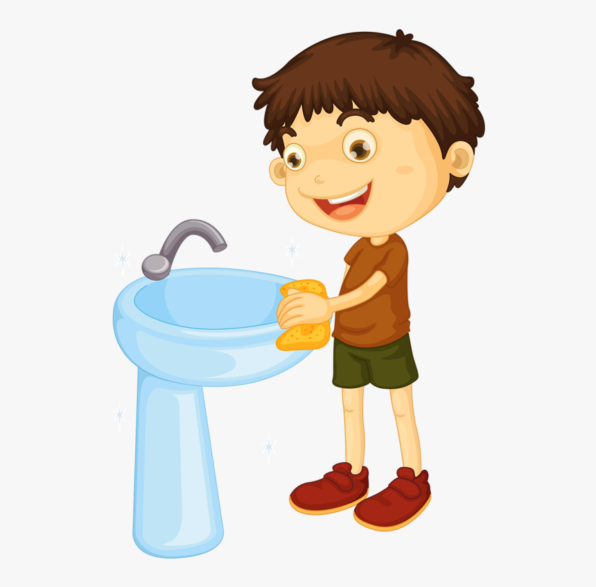 Kids Clipart Laundry - Clean Bathroom Sink Clipart, HD Png Download, Free Download