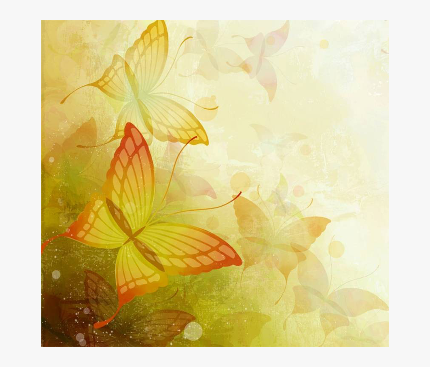 Light Flower Background Png Free Download - Colorful Butterfly Background Design, Transparent Png, Free Download