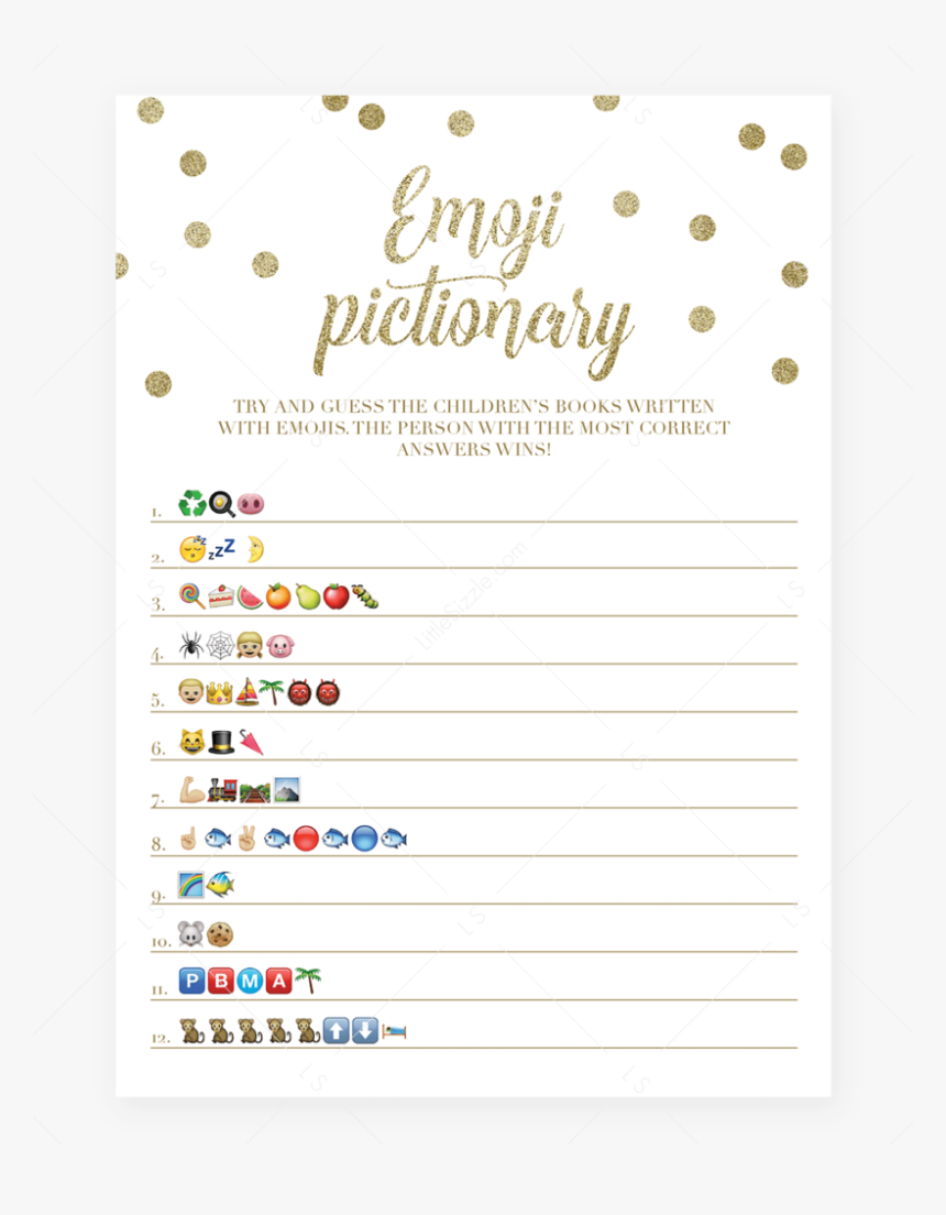 Emoji Pictionary Baby Shower Game Gold Confetti Printable - Baby Shower Emoji Game Free Printable, HD Png Download, Free Download