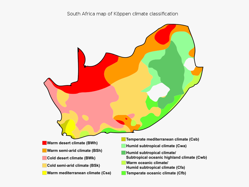 South Africa Map Of Köppen Climate Classification - Koppen Climate South Africa, HD Png Download, Free Download