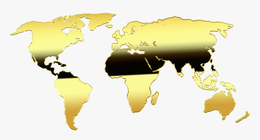 Map Of The World, Map, Gold, Graphic, Europe, Africa - World Map, HD Png Download, Free Download
