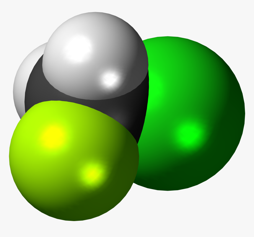 Chlorofluoromethane 3d Spacefill - Graphic Design, HD Png Download, Free Download