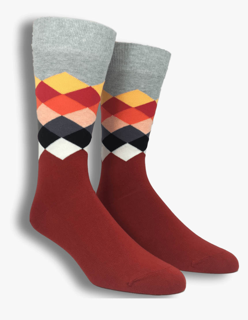 """Grey, Red, And White Faded Diamond Socks By Happy Socks""""  - Sock, HD Png Download, Free Download"""