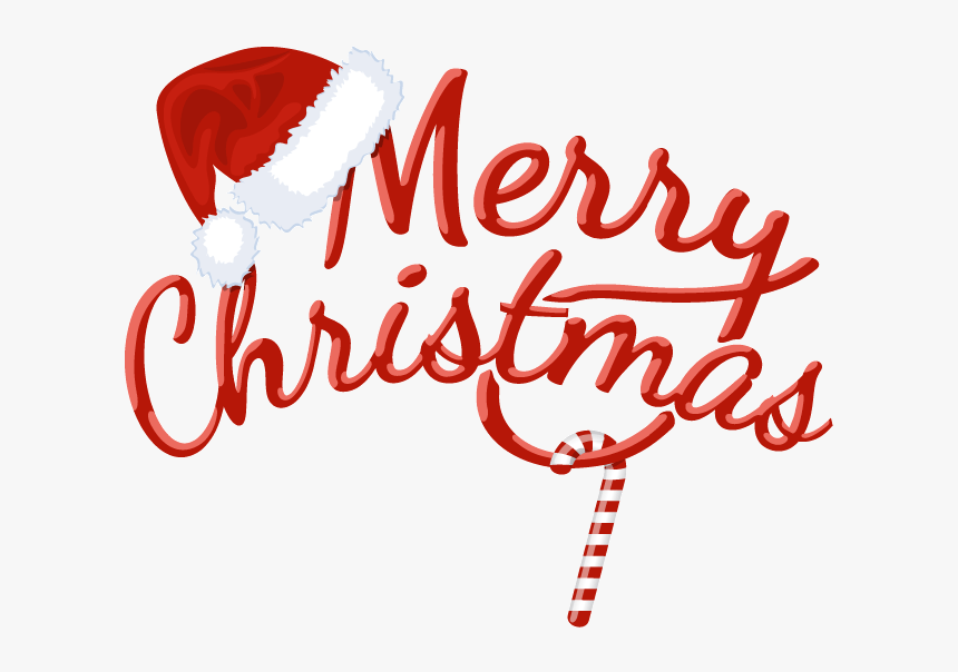 Merry Hats,decorative Fonts Png Download - Merry Christmas Lettering Png, Transparent Png, Free Download