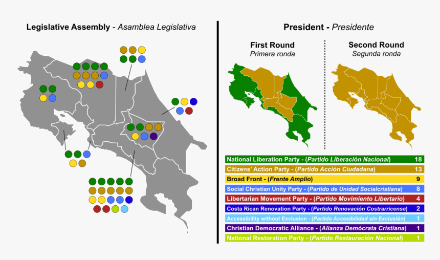 1024px Costa Rica Election 2014 Map Svg - Limon Costa Rica Map, HD Png Download, Free Download