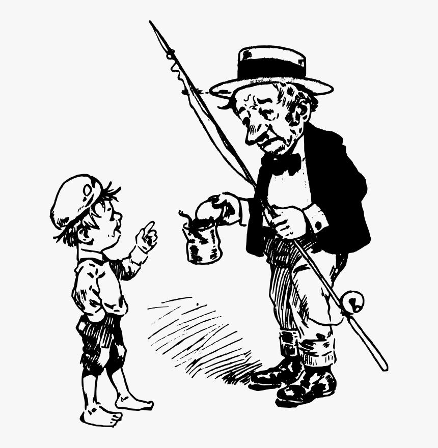 Old Man Fishing Rod Drawing Hd Png Download Kindpng