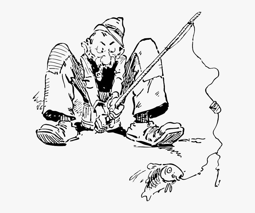 Fisherman, Fishing, Old Man, Fishing Line - Old Man Fishing Drawing, HD Png Download, Free Download