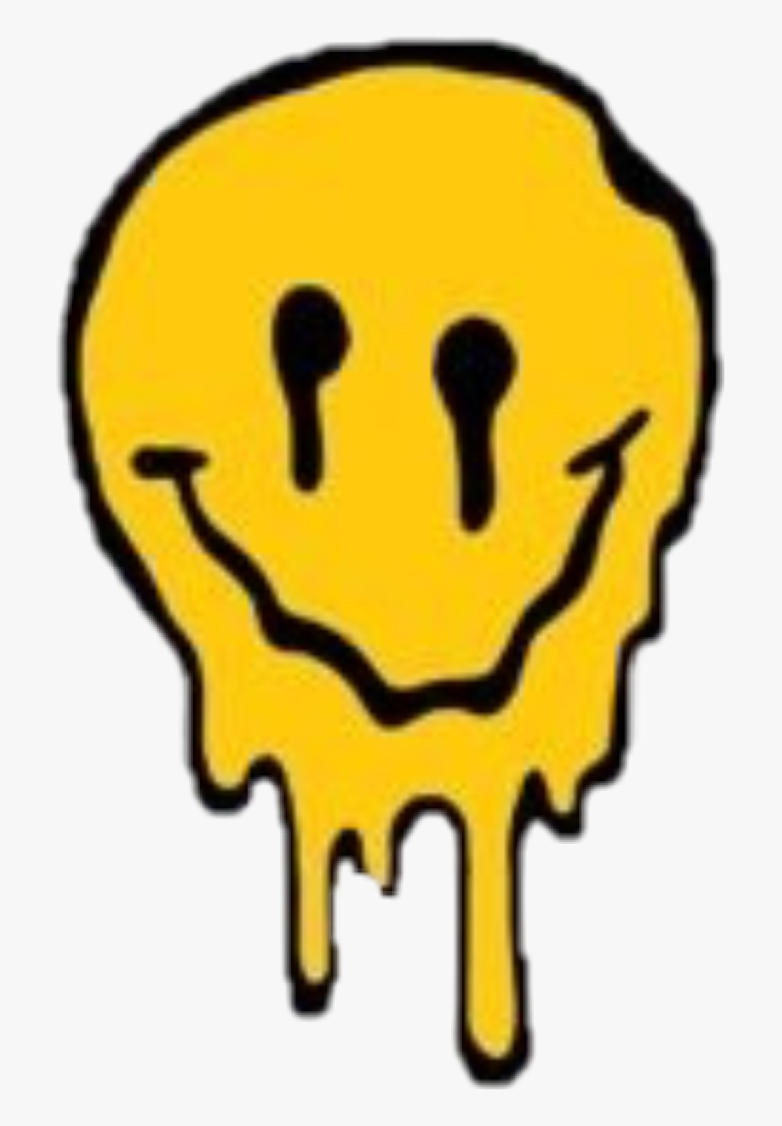 #cry #happycry #sad #grunge #tumblr - Melting Smiley Face, HD Png Download, Free Download