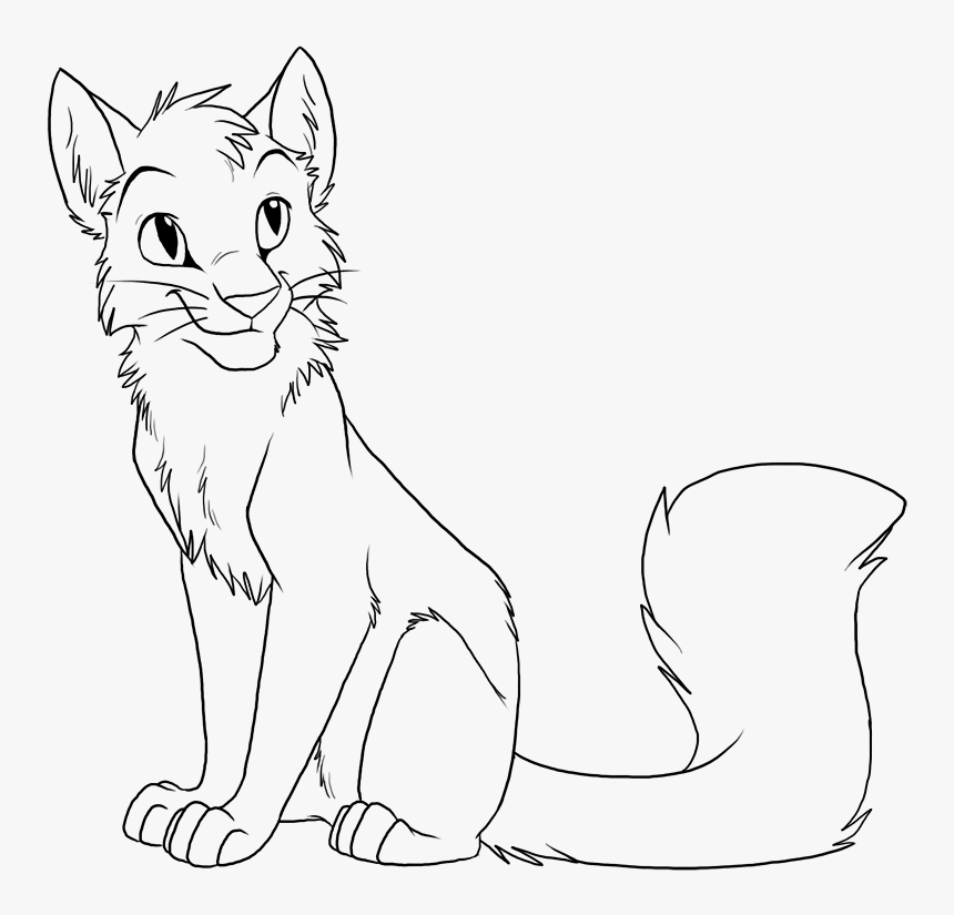 - Warrior Cat Drawing Outline Friwm - Warrior Cat Coloring Pages Lineart, HD  Png Download - Kindpng