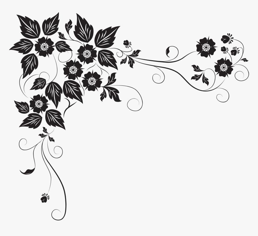 Black Flower Border Png - Black And White Flower Border Designs, Transparent Png, Free Download