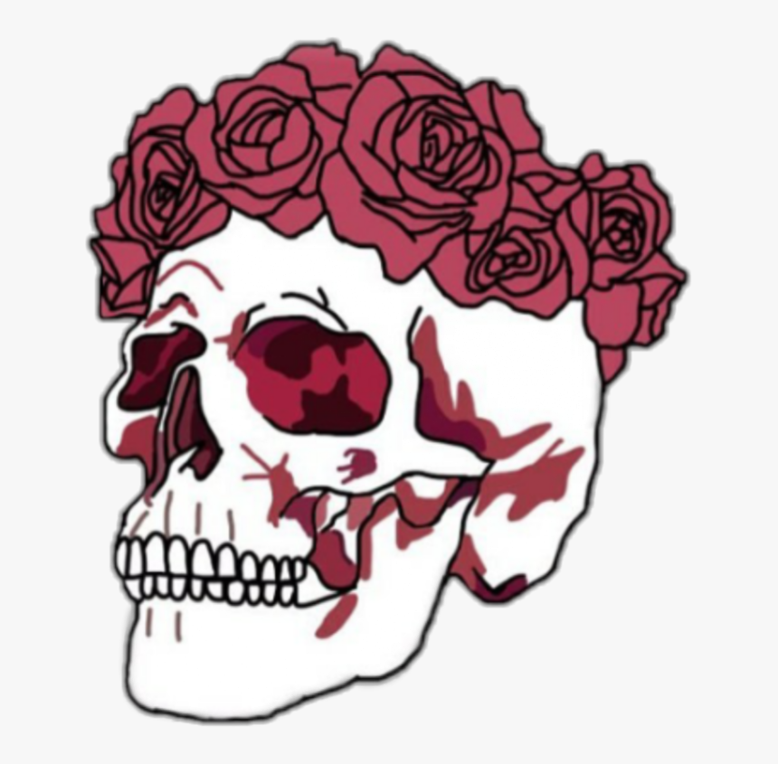 Flowers Clipart Skull - Skull With Flower Crown, HD Png Download, Free Download