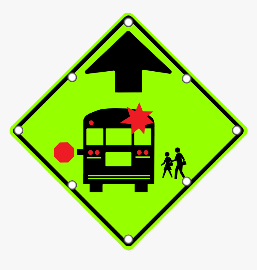 S3-1 School Bus Stop Ahead - Stop For School Bus Road Sign, HD Png Download, Free Download