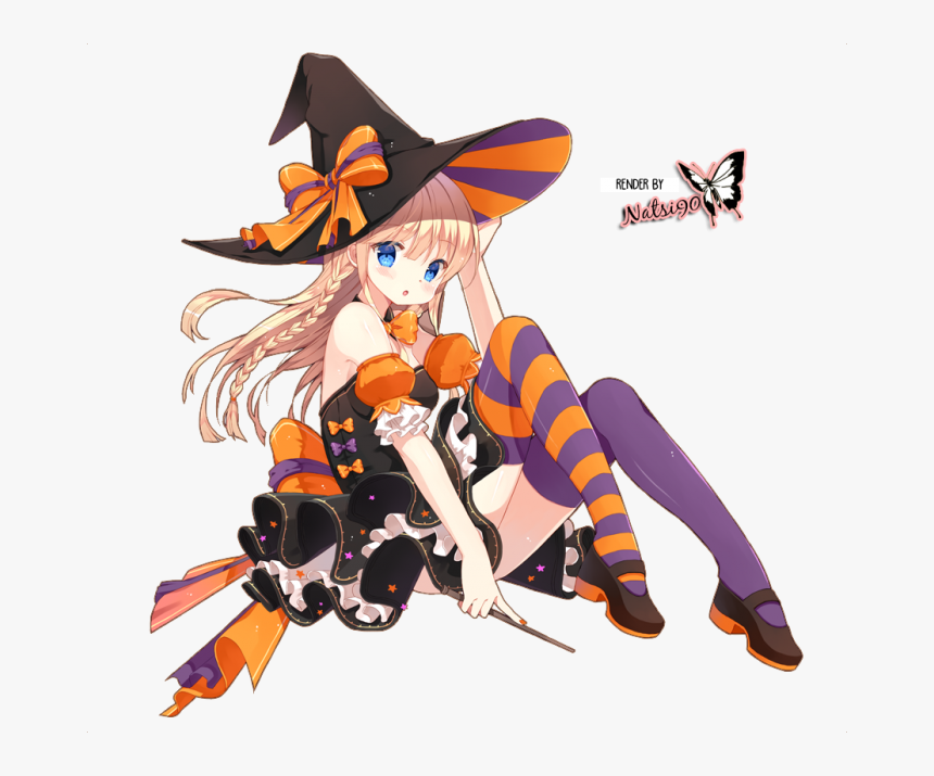 Transparent Anime Hat Png - Halloween Anime Girl Render, Png Download, Free Download