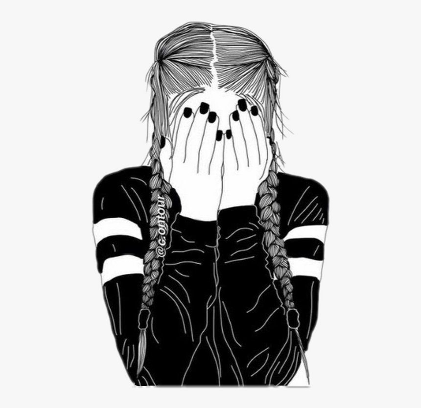Drawing Of A Girl With Braids, HD Png Download, Free Download
