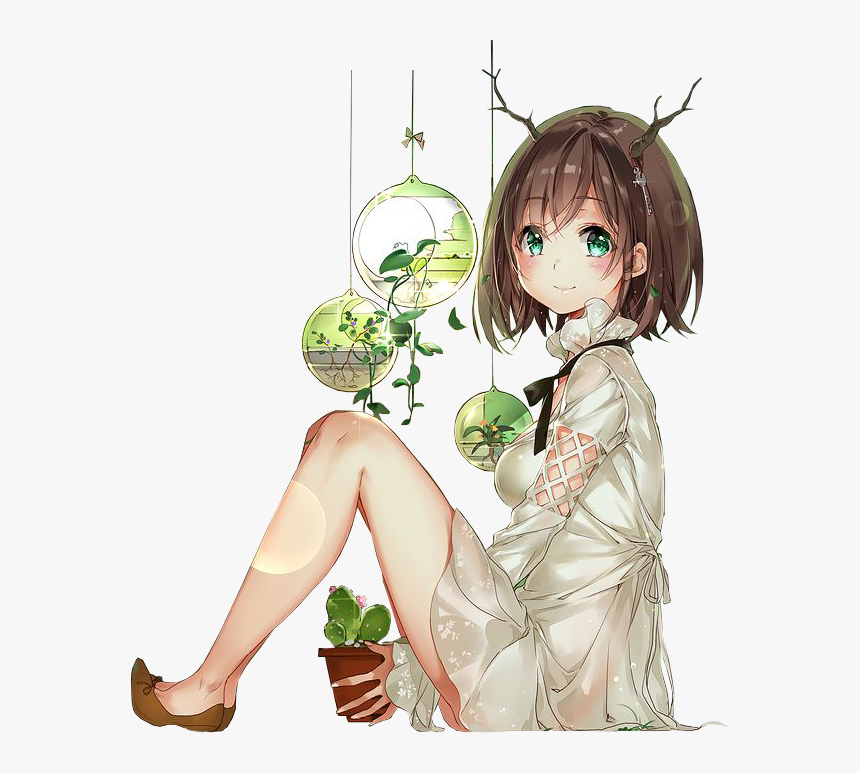 Anime Render Green , Png Download - Anime Girl With Plants, Transparent Png, Free Download