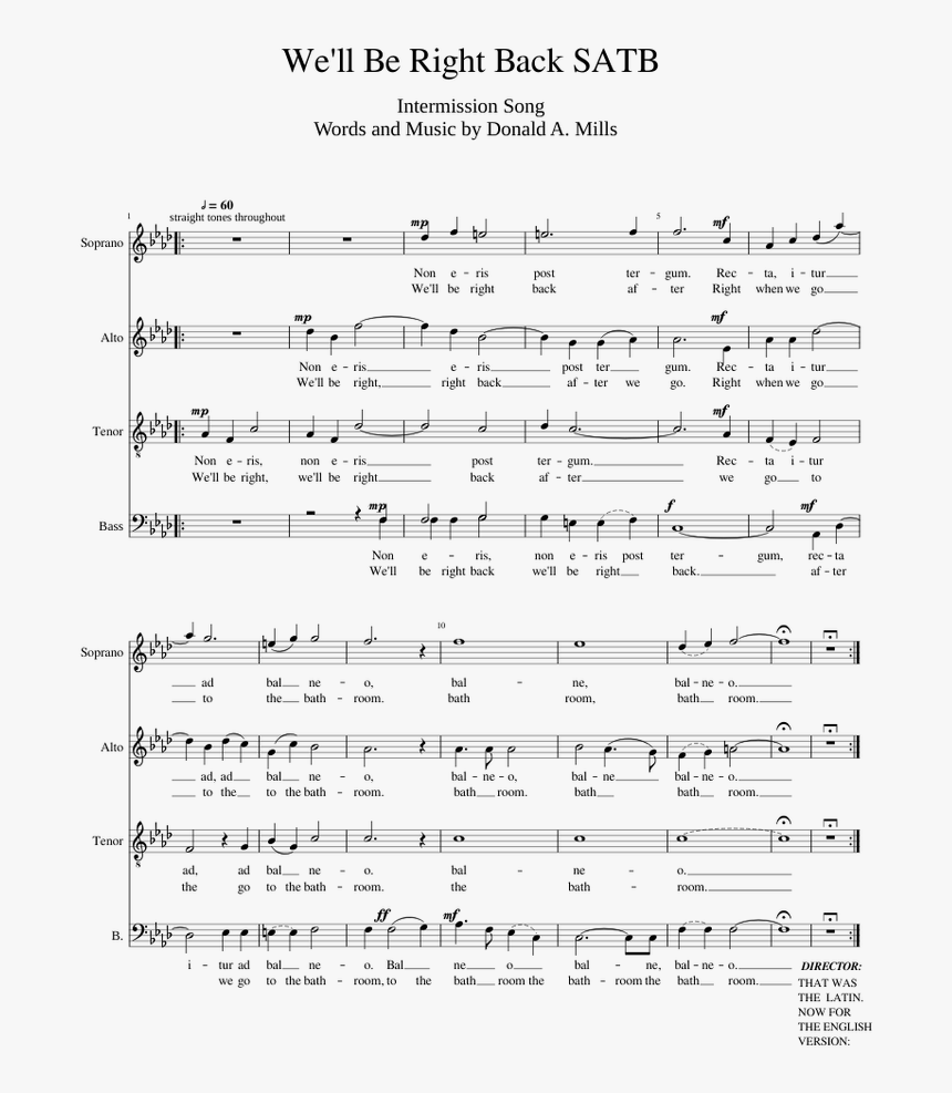 We Ll Be Right Back Sheet Music, HD Png Download, Free Download