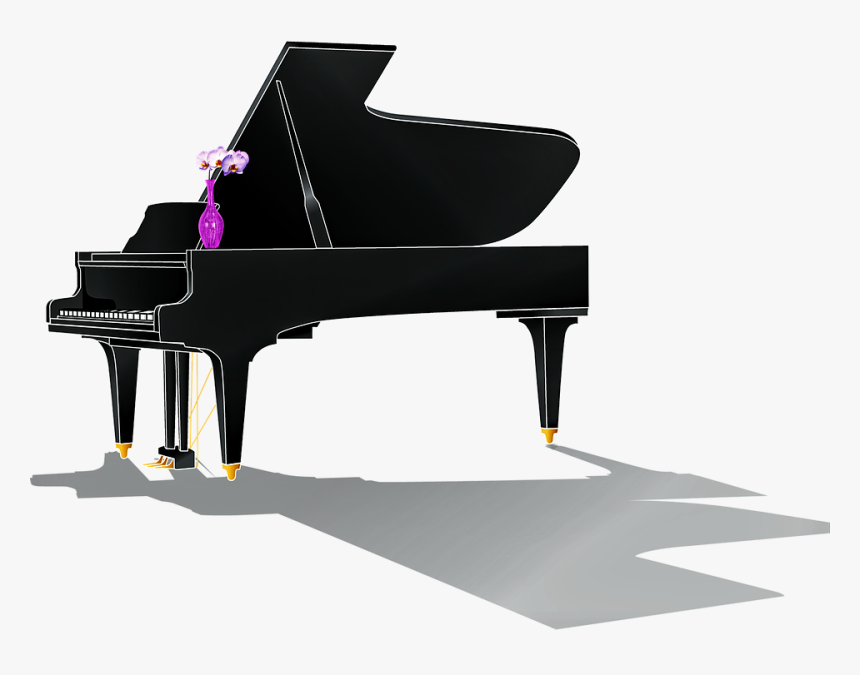 Grand Piano, Piano With Shadow, Roses, Piano, Music - Piano Shadow Png, Transparent Png, Free Download