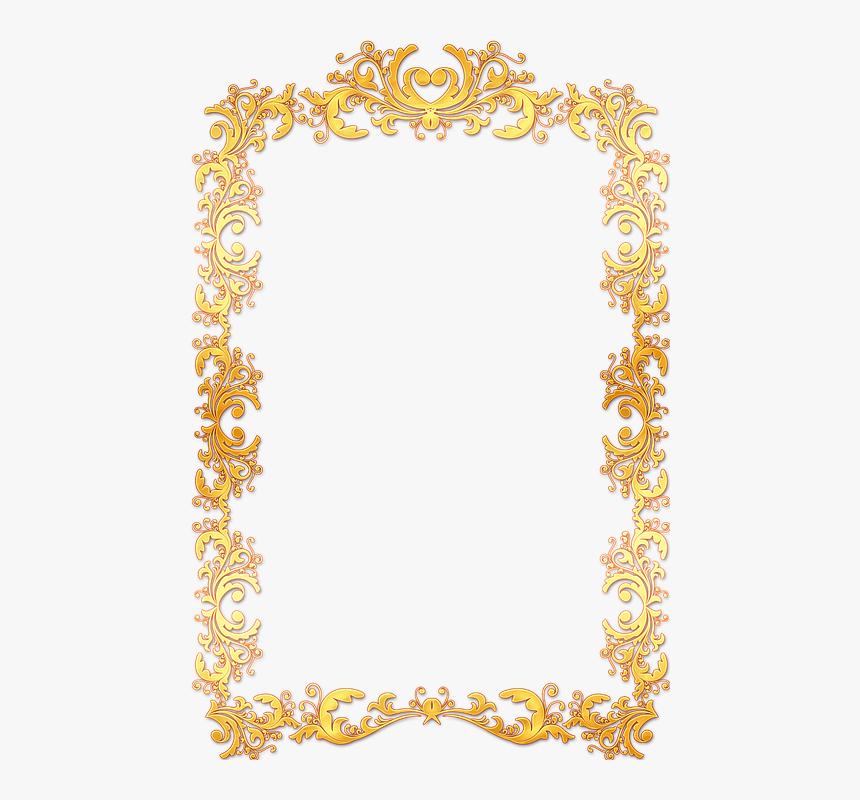 Frame, Ornate, Gold, Vintage, Portrait, Picture, Empty - Gold Vintage Frame Border Png, Transparent Png, Free Download