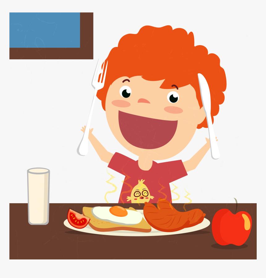 Clip Art Cartoon Breakfast Foods - Cartoon Eating Breakfast Png, Transparent Png, Free Download