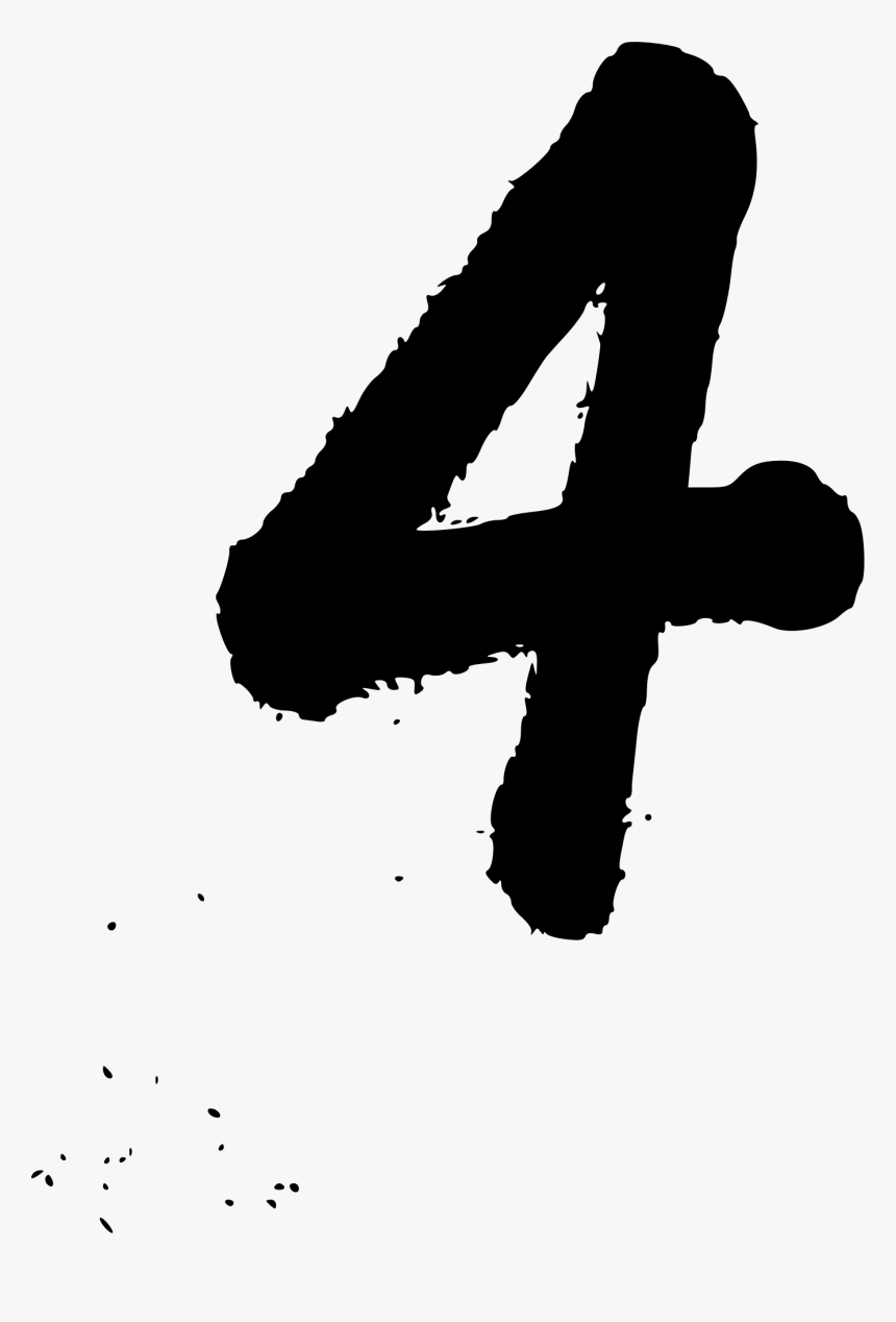 Number 4 Handwriting Png - Hand Written Number 4, Transparent Png, Free Download