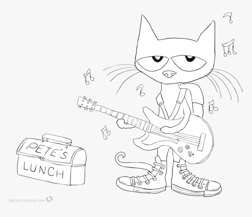 Pete The Cat Clipart Black And White Transparent Png - Pete The Cat Coloring Page School, Png Download, Free Download