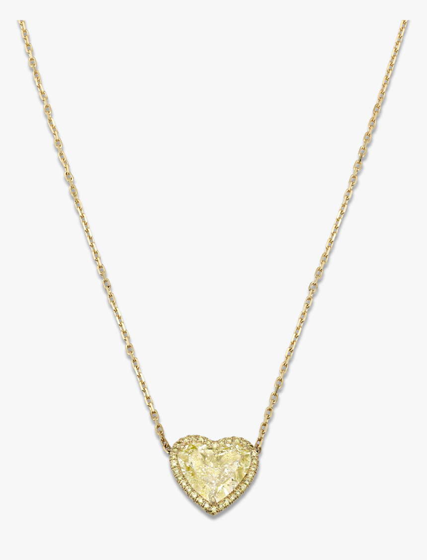 Natural Fancy Light Yellow Diamond Heart Necklace, - Heart Necklace Gold Transparent, HD Png Download, Free Download