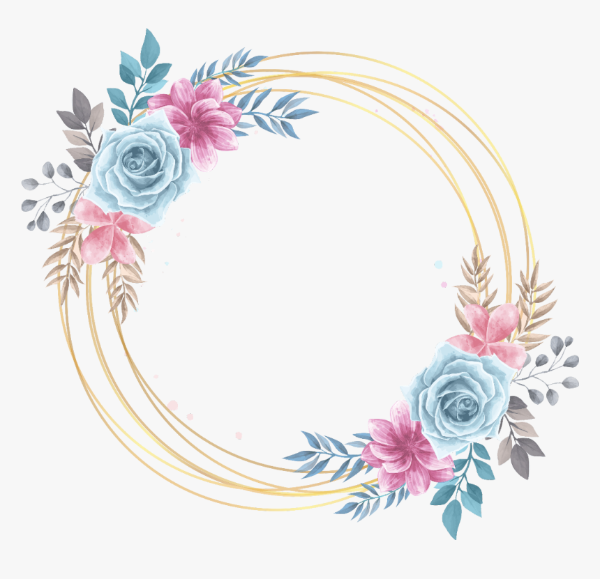 #rose #gold #circle #frame #glitter #geometric #colorful - Vintage Vectores De Flores, HD Png Download, Free Download