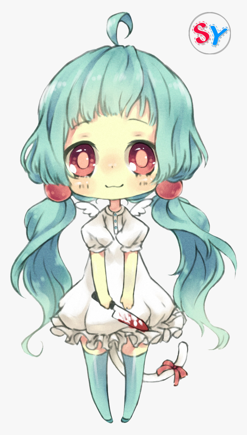 Anime Chibi Girl With Blue Hair, HD Png Download, Free Download