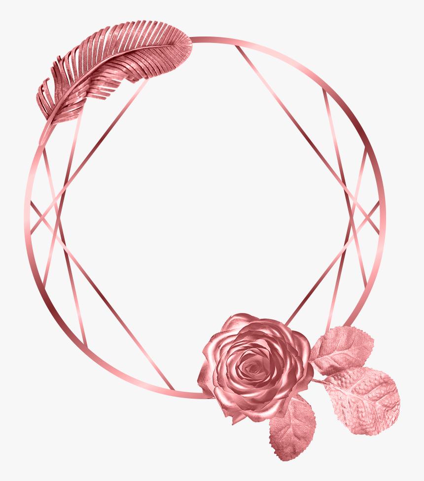 #circle #leaf #rose #frame #rosegold #glitter #geometric - Rose Gold Geometric Frame, HD Png Download, Free Download