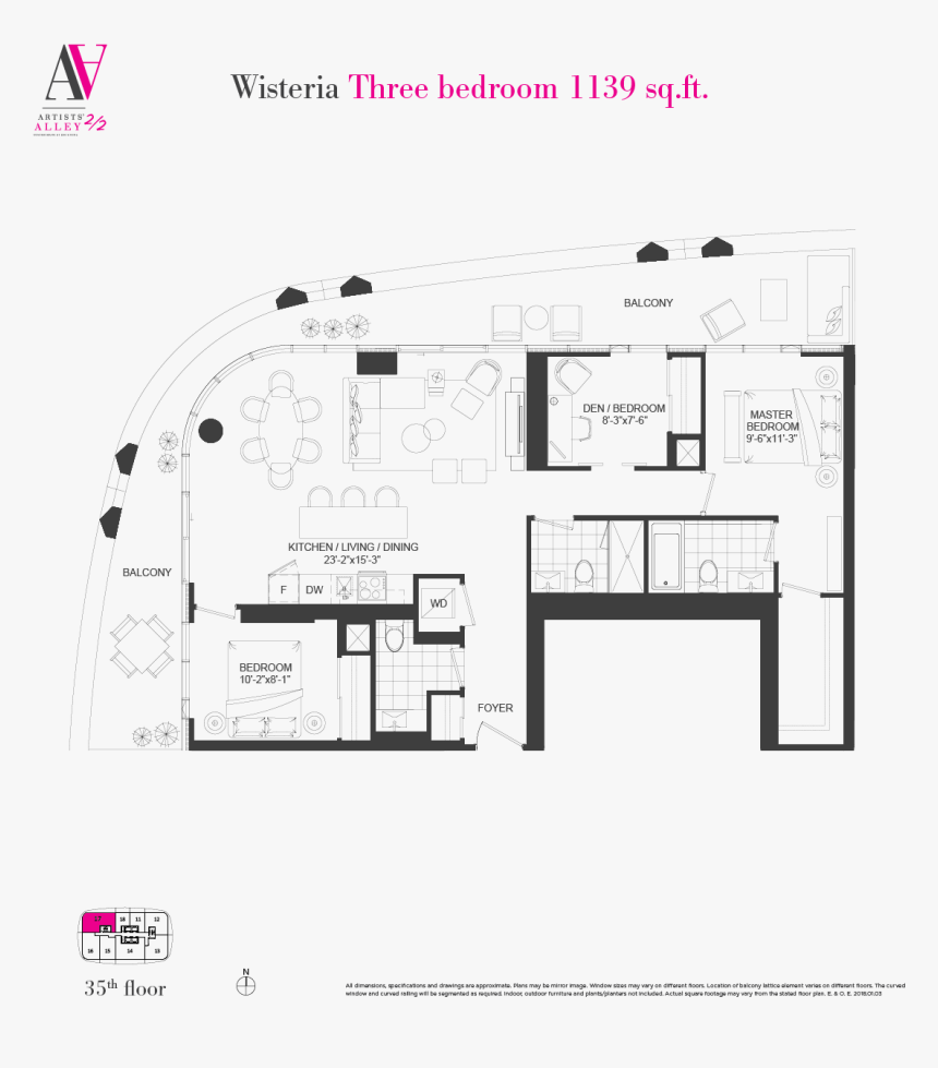 Curved Window Design Floor Plan, HD Png